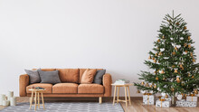 Living Room Christmas Interior In Scandinavian Style. Christmas Tree With Gift Boxes. Orange Sofa On Bright Wall Mockup.