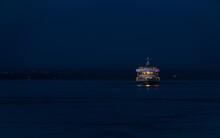 Ship On Sea At Night