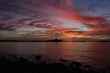 St Aubin's Fort, Jersey, U.K. Autumn Calm Sunrise Over A 19th Century Military Island Building.