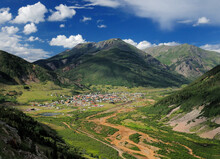 Aerial View From The Million Dollar Highway To Silverton Colorado Surrounded By Mountains On A Sunny Summer Day With A Clear Blue Sky And A Few Clouds