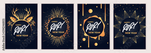 Fototapeta 2021 New Year. Fireworks, golden garlands, sparkling particles. Set of Christmas sparkling templates for holiday banners, flyers, cards, invitations, covers, posters. Vector illustration. obraz