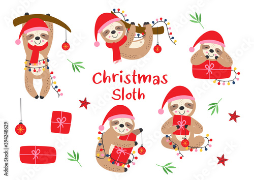Fototapeta premium set of isolated Christmas sloths with gifts