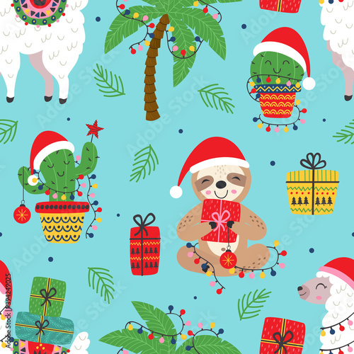 Fototapeta premium seamless pattern with Christmas sloth, llama and cactus