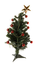 Table Top Plastic Christmas Tree Isolated On Whie