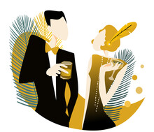 Flirting At A Party In The Style Of The Early 20th Century. Handmade Drawing Vector Illustration. Art Deco Style.