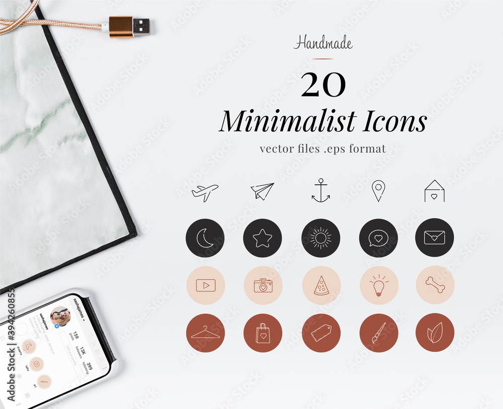 Fototapeta set of minimalist icons for Instagram highlight cover stories
