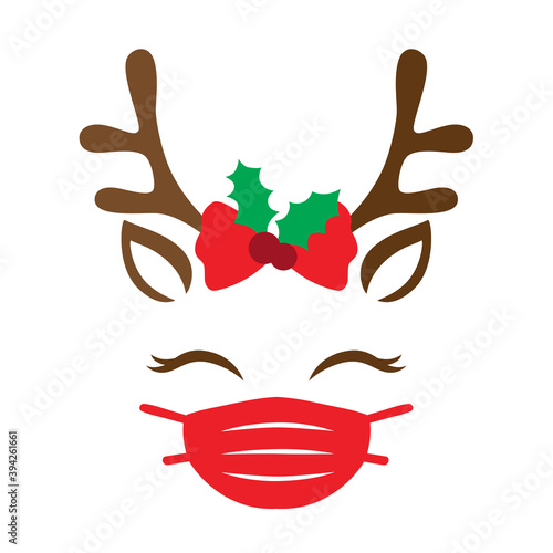 Vector illustration of a cute Christmas reindeer with face mask.