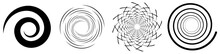 Spiral, Swirl, Twirl Element Set. Rotating Circular Shape Vector Illustration