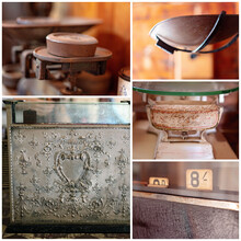 Collage Of Old Scales And Cash Register