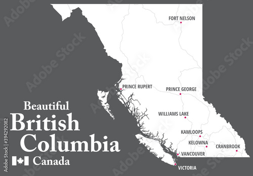 Beautiful British Columbia Map. Canada. White shape of BC province with highways and tourist destinations marked. Touristic guide.