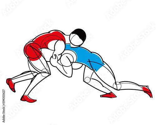 Fototapeta Freestyle wrestling. Stylized athletes are fighting. Linear geometric pattern. Isolate. Vector graphics obraz na płótnie