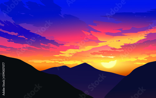 Fototapety, obrazy: Sunset over mountains