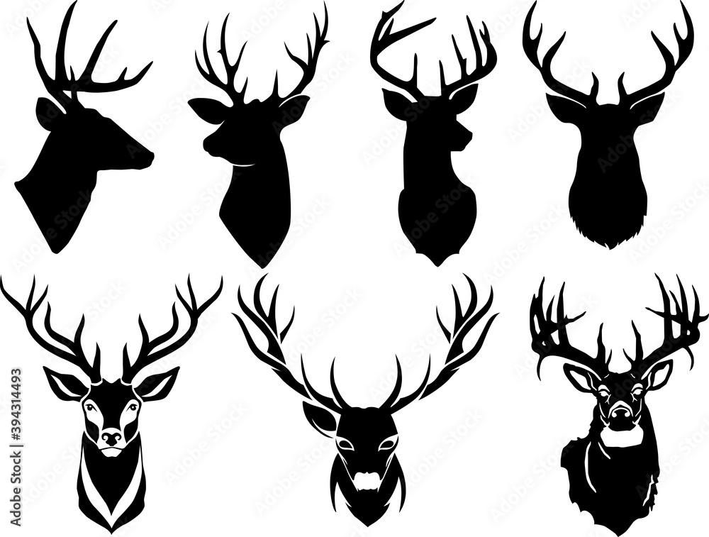 Fototapeta Set of deer head silhouette