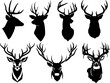 Set of deer head silhouette