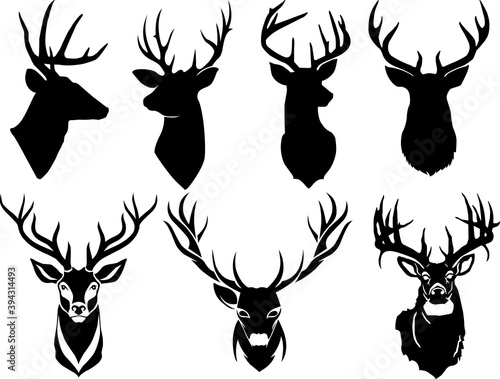 Leinwand Poster Set of deer head silhouette