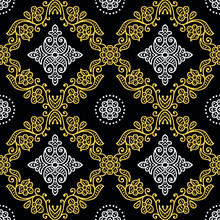 Traditional Asian Damask Pattern Deign On Black Background
