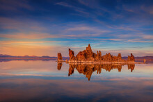 Tufa Formations At Mono Lake In California In The Evening