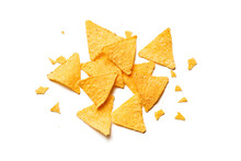 Golden Nachos Chips Isolated On White Background. Top View