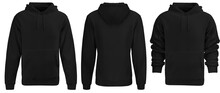 Black Hoodie Template. Hoodie Sweatshirt Long Sleeve With Clipping Path, Hoody For Design Mockup For Print, Isolated On White Background.