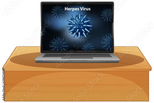 Herpes Virus background on laptop display Canvas Print
