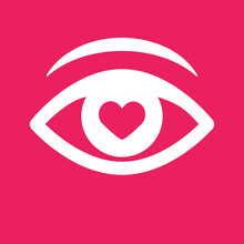 Love From First Sight Icon. Isolated Eye Vector Icon.