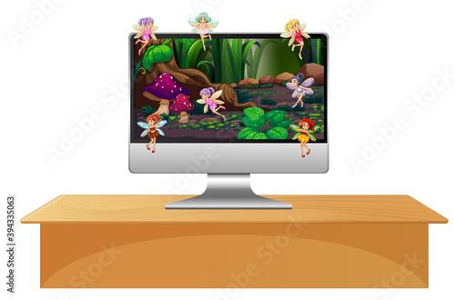 Pixie fairy on computer screen Canvas Print
