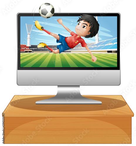 Photo Football on computer desktop screen