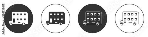 Photo Black Double decker bus icon isolated on white background
