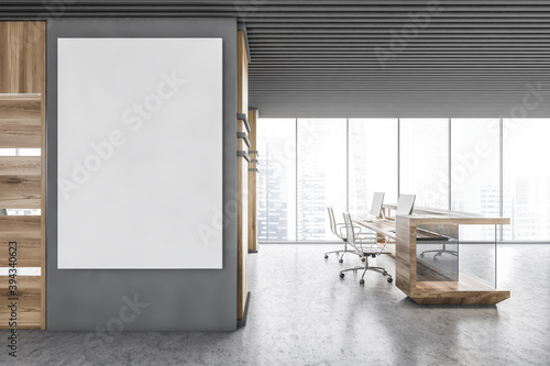 Obraz Gray and wooden office with reception and poster - fototapety do salonu