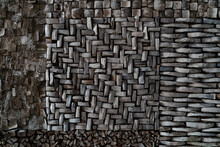Close Up Of Dry Wood Or Coconut Bract  For Decoration, Background.