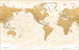 World Map - Vintage Physical Topographic - American View - America in Center - Vector Detailed Illustration