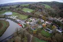 Aerial View Of Amberley On The River Arun Situated In A Beautiful Valley Between The South Downs.
