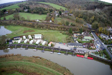 Aerial Photo Of Boats Moored On The River Arun At Amberley In West Sussex Next To The Popular Tea Rooms.