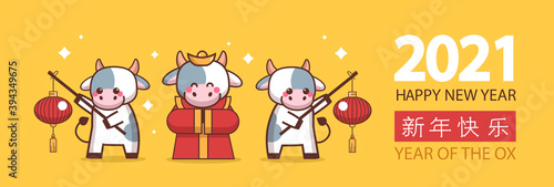 Obraz little oxes holding lanterns happy new year banner 2021 greeting card with chinese calligraphy cute cows mascot cartoon characters full length horizontal vector illustration - fototapety do salonu