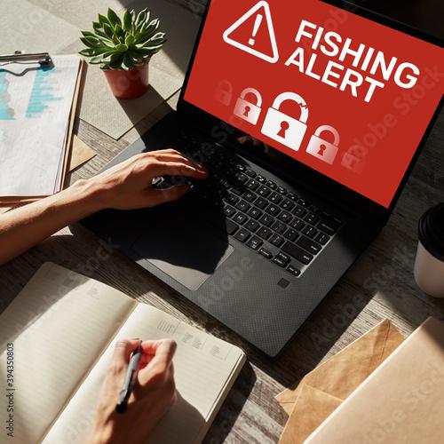 Fishing alert, Fraud, Virus, Cyber security breath detection banner on screen Tapéta, Fotótapéta