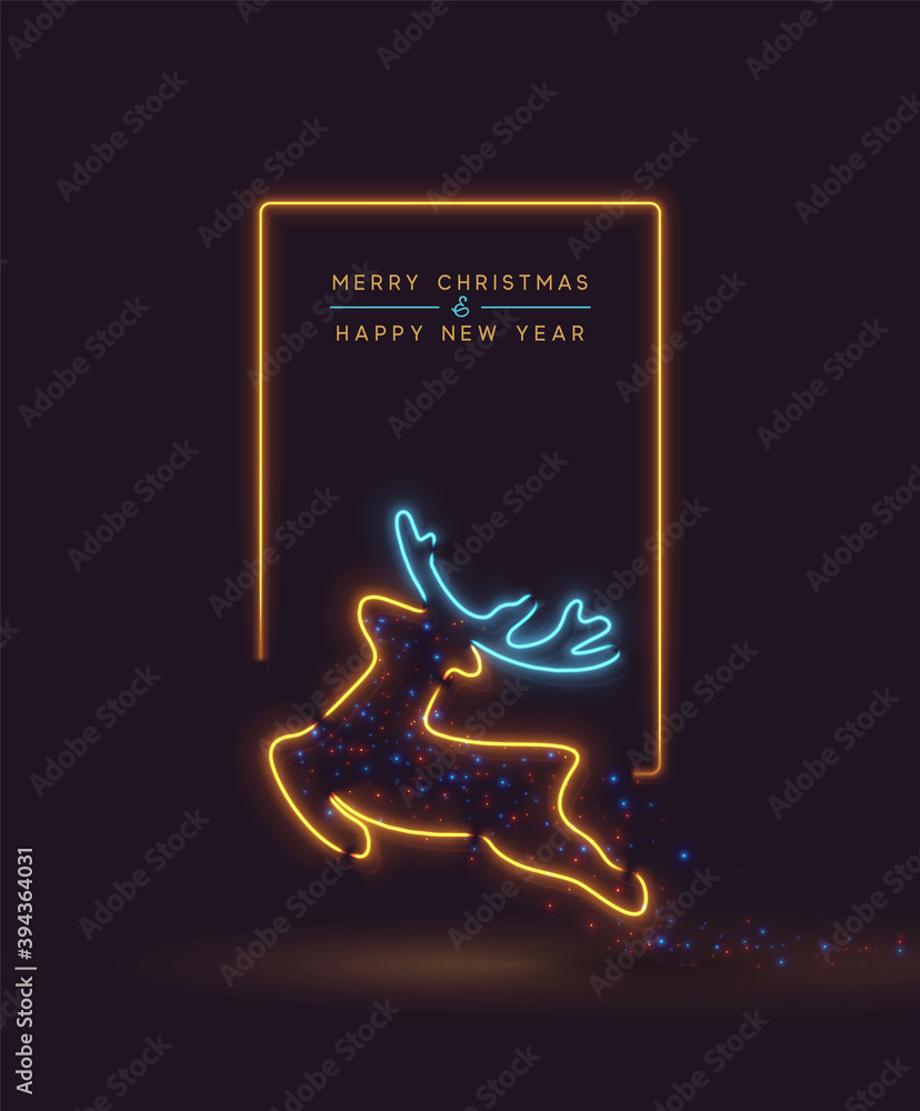 Fototapeta Merry Christmas and Happy New Year. Background Reindeer Effect Neon light garlands. Holiday pattern Xmas deer. Banner and poster. Vector illustration.
