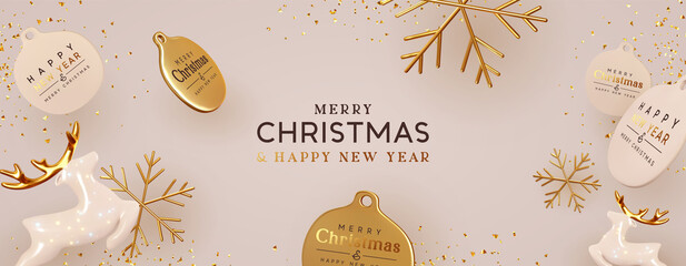 Panel Szklany Koszykówka Christmas background with realistic decorative holiday design objects. 3d Ceramic porcelain glass deer, gold metal snowflake, round gold label, glitter confetti. Xmas Banner and poster. Happy New Year