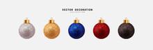Christmas Balls Realistic. Set Of Multicolored Festive Decorative Baubles. 3d Render Object. Vector Illustration.