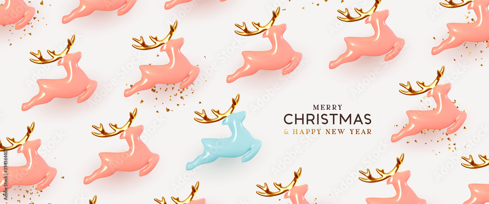 Fototapeta Christmas reindeer Realistic ceramic. Holiday pattern Xmas deer. Pink and blue Porcelain decorative toy figurine. New Year background. Vector illustration.
