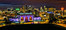 Night City Skyline Of Kansas City Missouri With Union Station In The Foreground
