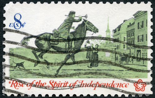 USA - 1973: shows Postrider, Rise of the Spirit of Independence, 1973 Wallpaper Mural