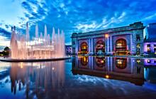 Union Station Waterfall Downtown Kansas City Reflection