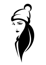 Young Pretty Woman Wearing Knitted Hat With Pom-pom - Winter Season Casual Headwear Black And White Vector Portrait