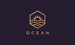 hexagon logo with ocean wave from line and sun in a simple and modern shape