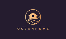 Home Logo Of Gold Line With House In Circle Shape With Ocean Wave