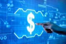 Concept Of Dollar Sign On A Futuristic Digital Display.