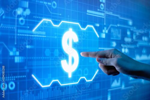 Fototapeta Concept of dollar sign on a futuristic digital display. obraz