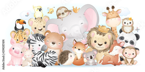 Fototapeta premium Cute doodle animals with watercolor collection