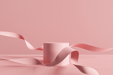 Product Display Podium On Pink Background. 3D Rendering