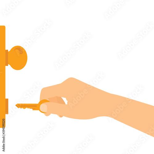 Flat design illustration of hand holding key and unlocking or locking entrance door, vector Wall mural